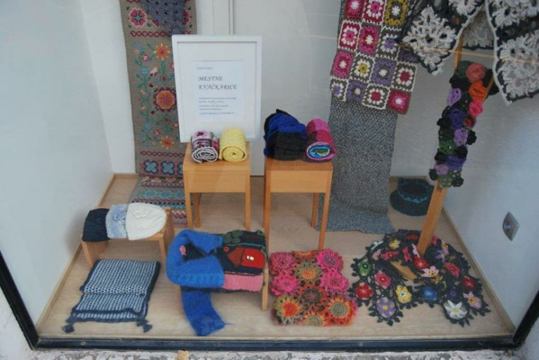 Crochet products made by the Urban Crocheters