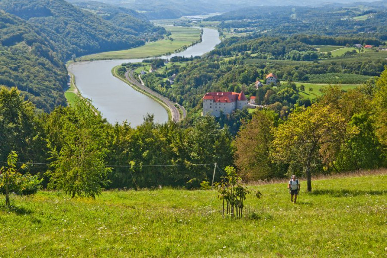 Hiker over the Sava River and the town of Rajhenburg