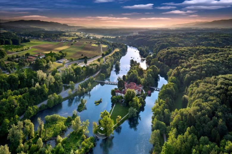 Otočec Castle is situated on one of the islands in the river Krka