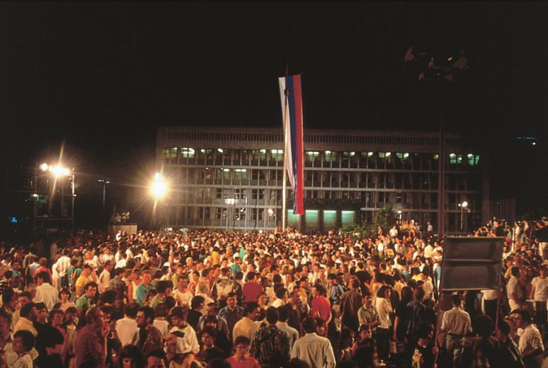 Crowd in front of the Slovenian parliament